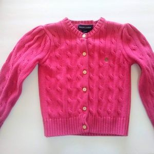 Ralph Lauren Pink Cable Knit Cardigan in Girl's 4T